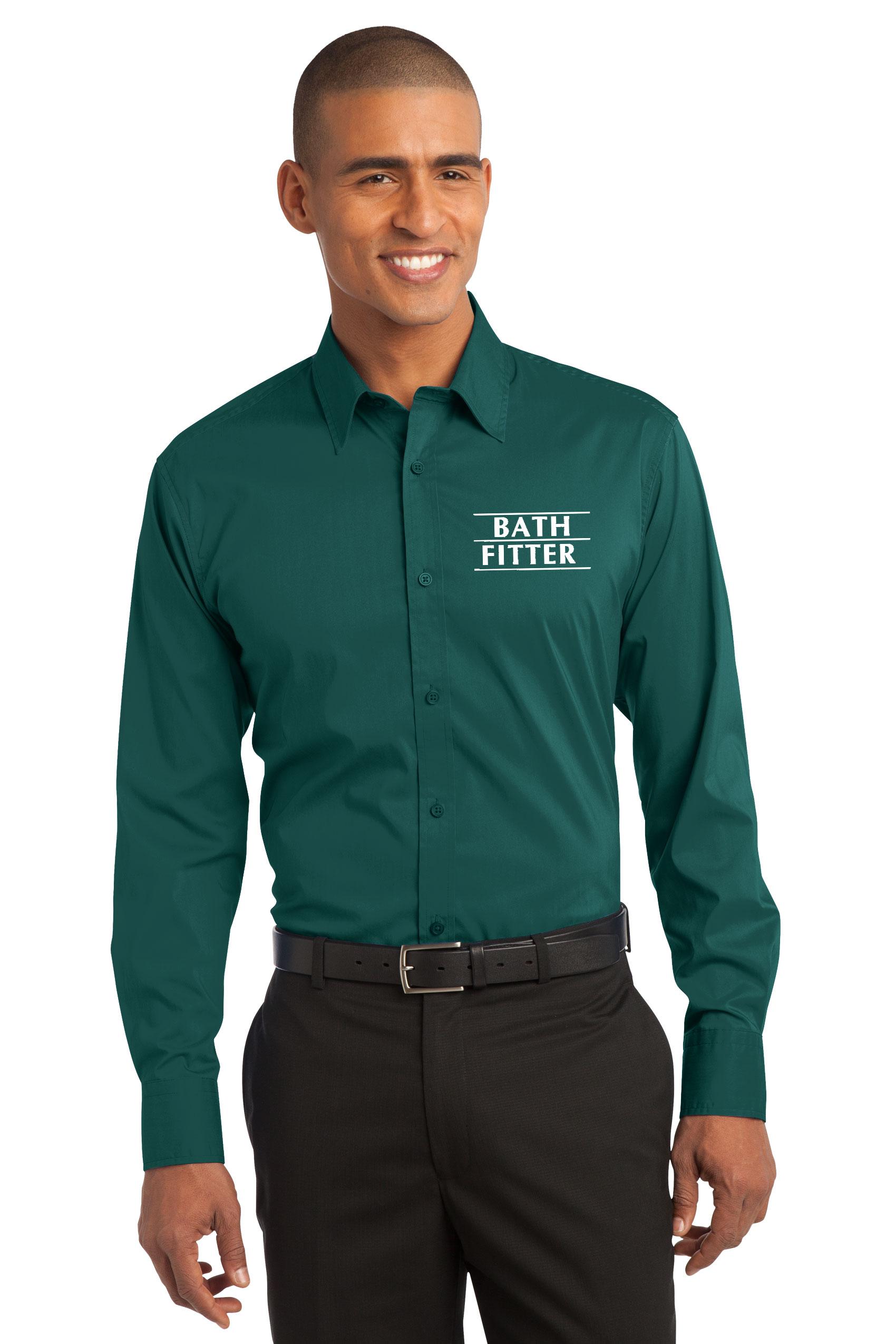 Bath fitter attire for Mens teal button down shirt
